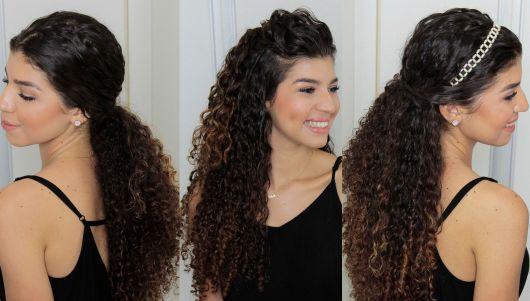 Penteados para Festa cabelo longo cacheado com tiara brilhante