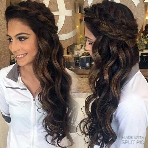 Penteados para Festa cabelo solto com tiara de trança
