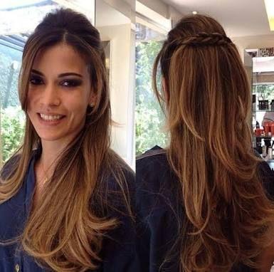 Penteados para Festa cabelo solto liso com trança atrás