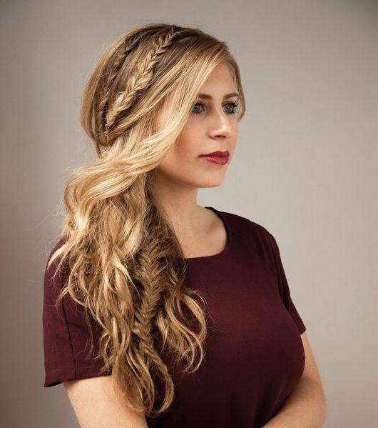 Penteados para Festa cabelo solto com tranças