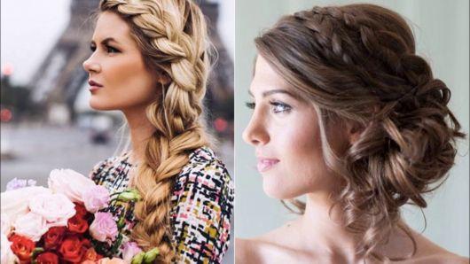 Penteados para Festa casamento preso com trança lateral