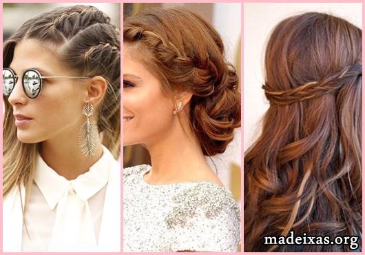 Penteados para Festa modelos cabelo liso com trança