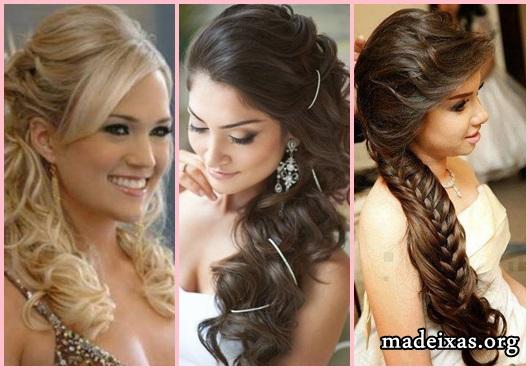 Penteados para Festa modelos cabelo liso com franja