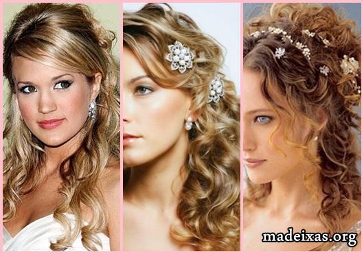 Penteados para Festa modelos cabelo liso loiro com franja