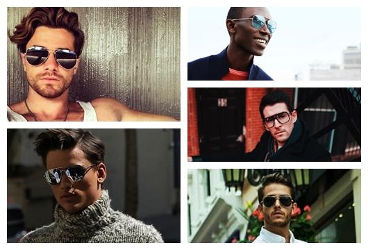 Montagem com 5 fotos diferentes de homens usando óculos aviador masculino
