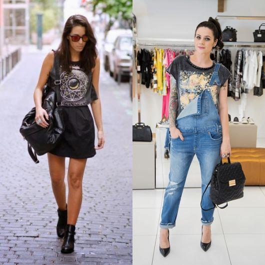 Modelos vestem jardineira e saia com mochila preta feminina de couro.