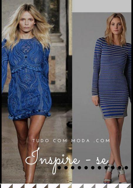 Modelos usam vestidos de inverno manga longa na cor azul estampado.
