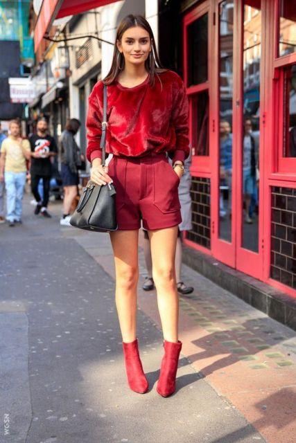 look bota vermelha