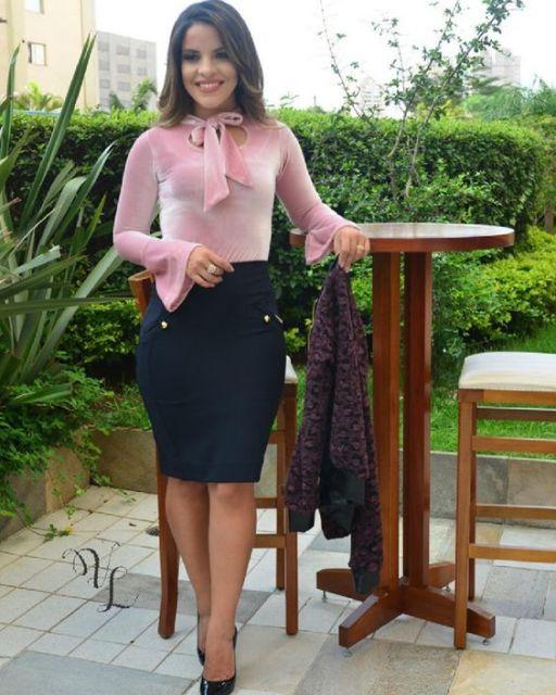 blusa rosa de manga longa