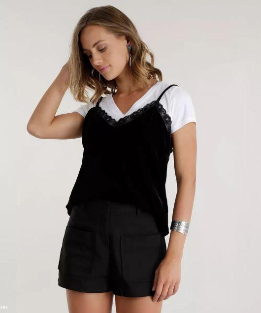 look blusa de alcinha com short