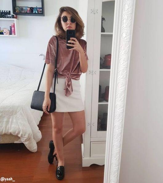 look com blusa rosa
