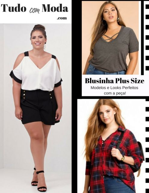 Modelo veste blusa plus size nas cores preta com branco, xadrez e cinza com decote V.