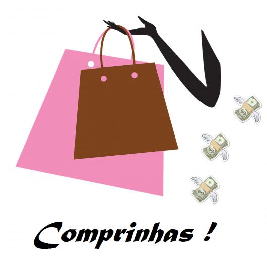 Ilustraçao de comprinhas com sacolas de compras coloridas nas cores rosa e marrom.