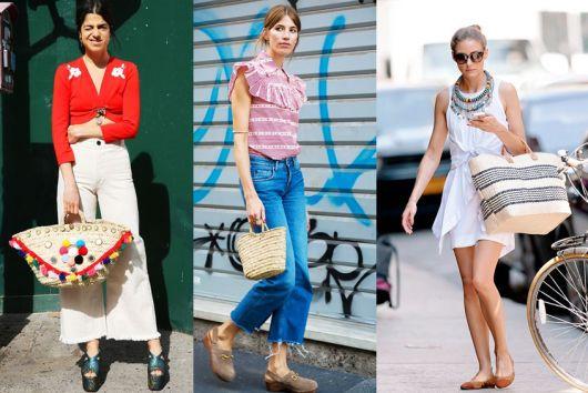 Modelos usam loooks casuais com bolsa de palha.