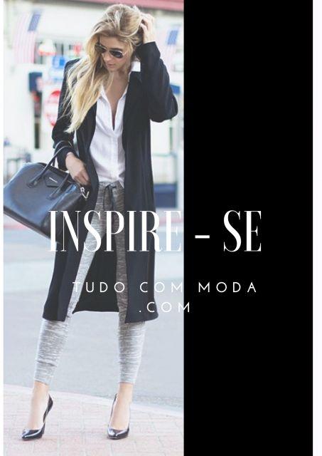 Modelo usa calça moletom cinza, casaco e camisa branca.