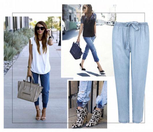 Modelo usa calça jeans com regata branca.