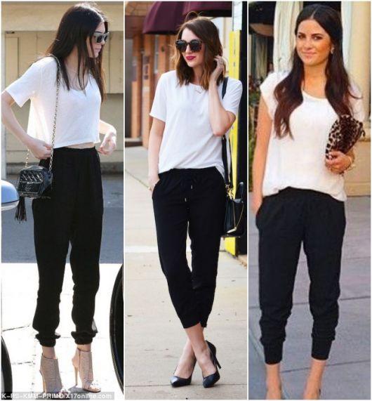 Modelos vestem looks com calça jogger preta e camiseta branca.