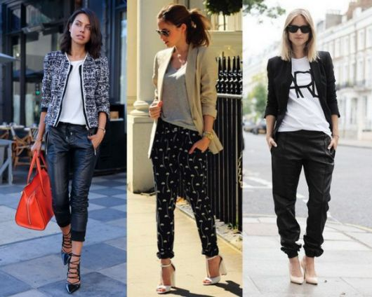 Modelos vestem calça jogger preta com blazer e camiseta.