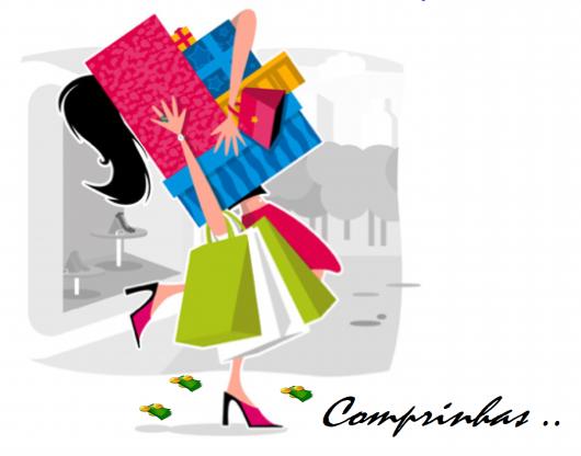 Ilustração com bonequinha carregando sacolas de compra.