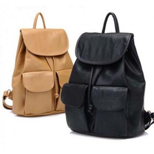 Modelos de bolsa nas cores preto e amarelo.