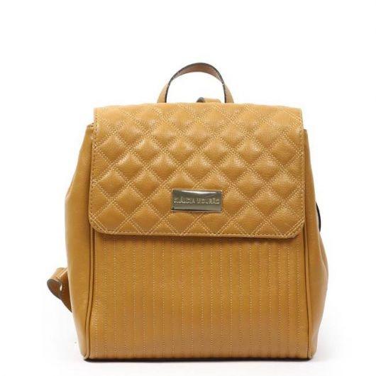 Modelo de mochila amarela abre e fecha.