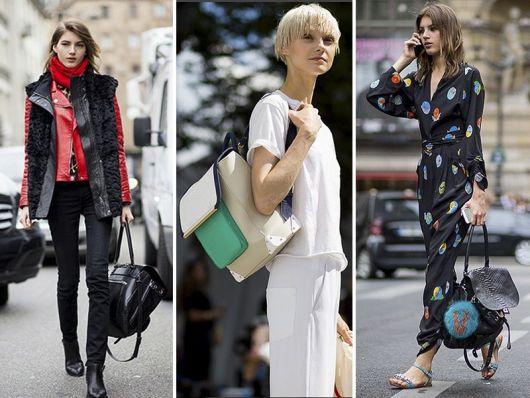 Modelos vestem mochilas de couro com looks casuais.