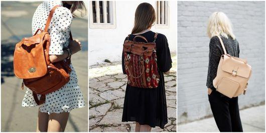 Modelos usam mochilas nas costas nas cores marrom, amarelo e bege.
