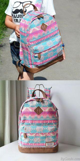 mochila rosa e azul