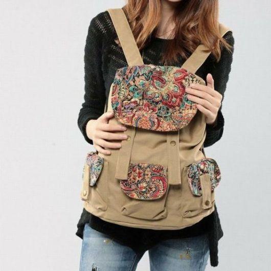 mochila feminina estampada