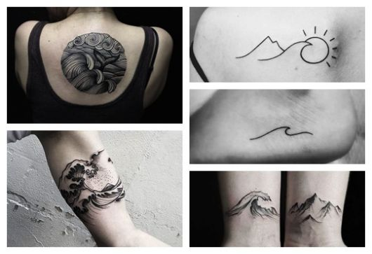 Montagem com cinco fotos diferentes de tatuagem de onda.