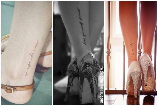 tatuagem escrita perna