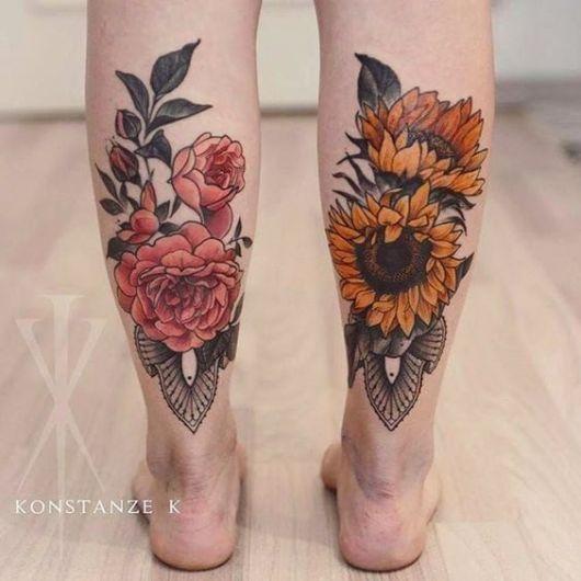 tatuagem grande flores