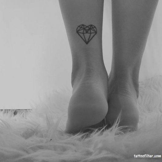 tatuagem coração diamante