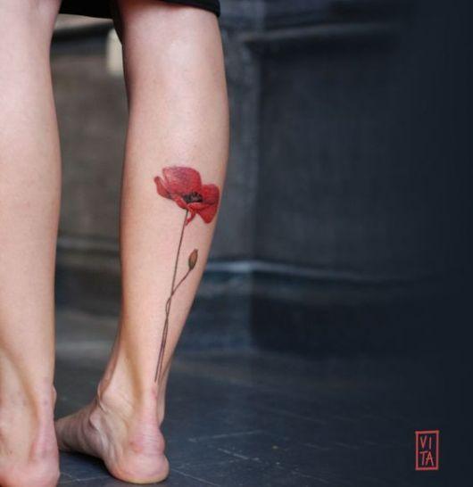 tatuagem colorida flor