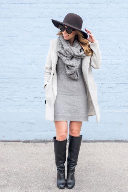 look com vestido cinza