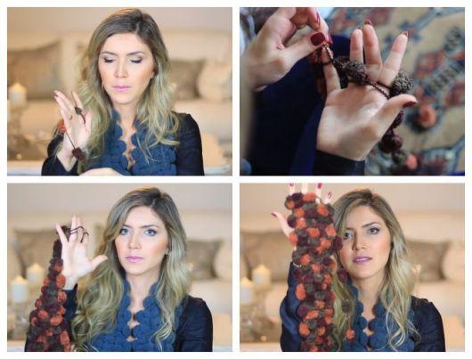 Montagem com tutorial para fazer cachecol de pompom com os dedos.