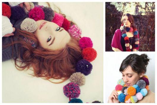 Montagem com fotos de mulheres usando cachecol colorido.