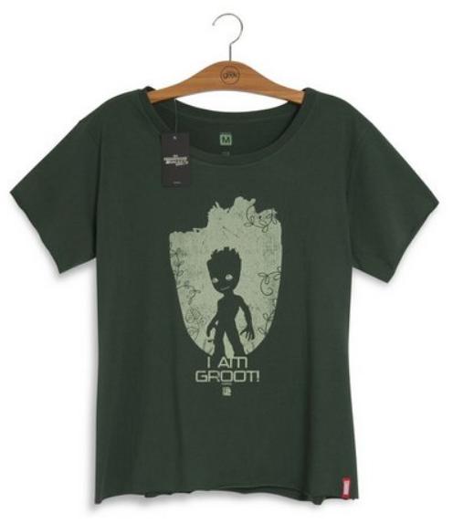 Camiseta verde com estampa do Groot.