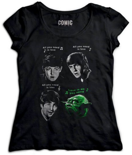 Camiseta com estampa dos Beatles e do Yoda.