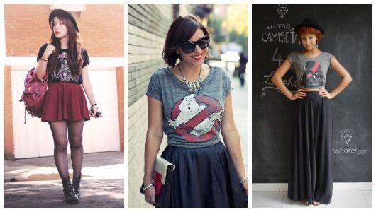 Montagem com looks com camisetas geek e saias.