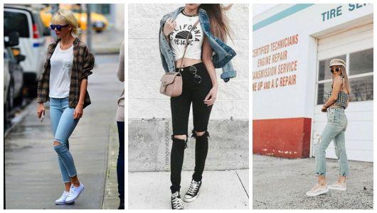Montagem com três fotos de mulheres com calça e blusinha.