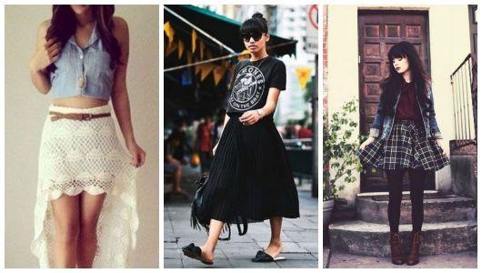 Montagem com exemplos de looks no estilo Indie.