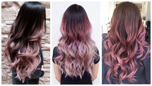 Montagem com três fotos de cabelos com Ombré Hair Rosa.
