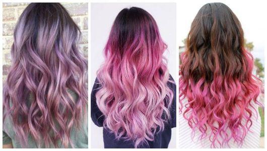 Montagem com três imagens de cabelos com Ombré Hair Rosa.