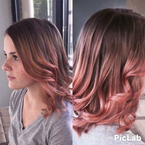 Montagem com imagens de mulher com ombré hair.