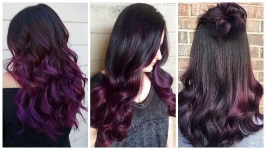 Montagem com cabelos castanho escuro com ombré hair rosa.