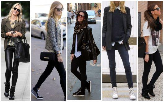 Modelos usam calça preta, blusa e tenis casual cano alto.
