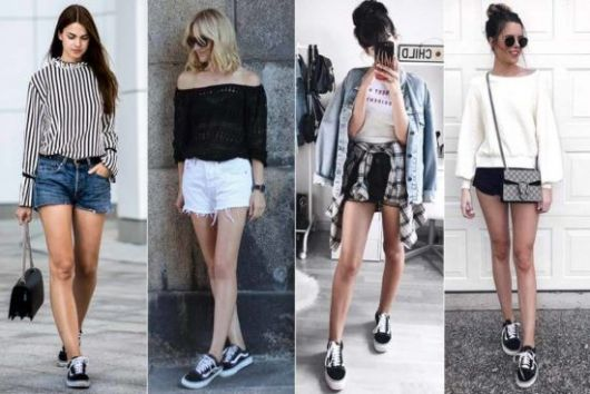 Modelos usam shorts curto, tenis e blusinha.