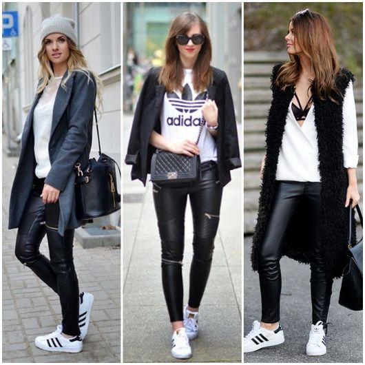 Modelos usam calças de couro preta, tenis branco e blusa branca.