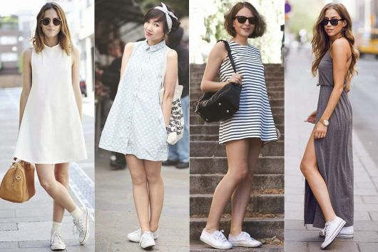 Modelos usam vestidos com tenis branco.
